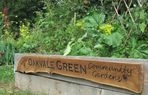 Oakvale Green Community Gardens sign made from driftwood and mounted on side of garden box